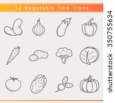 set of outline vegetables icons.... | Shutterstock .eps vector #350755634