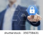 Cyber security concept on virtual screen with a consultant doing presentation in the background - stock photo