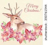watercolor hand drawn deer in... | Shutterstock . vector #350761544