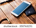 white and black mobile phones... | Shutterstock . vector #350763251