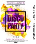 disco party poster template.... | Shutterstock .eps vector #350764457