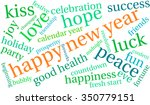 happy new year word cloud on a... | Shutterstock .eps vector #350779151