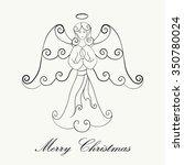 hand drawn christmas angel... | Shutterstock .eps vector #350780024
