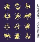 zodiac signs vector outline... | Shutterstock .eps vector #350786159