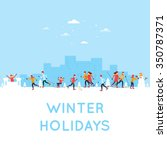 people doing an active winter... | Shutterstock .eps vector #350787371