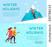 man rides from mountain on skis ... | Shutterstock .eps vector #350788115