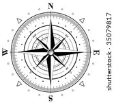 black compass rose isolated on... | Shutterstock . vector #35079817