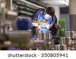 industrial worker with... | Shutterstock . vector #350805941