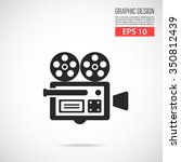 vector video camera icon. black ...