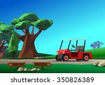 golf cart on road. red golf... | Shutterstock .eps vector #350826389