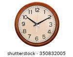 circle clock wooden frame  10 o ... | Shutterstock . vector #350832005