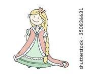cute cartoon fairytale princess ... | Shutterstock .eps vector #350836631