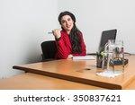 young beautiful business woman... | Shutterstock . vector #350837621