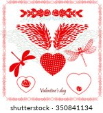 valentine's day red elements... | Shutterstock .eps vector #350841134