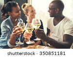 ethnic friends at a bar... | Shutterstock . vector #350851181