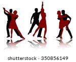 tango dancers silhouettes | Shutterstock .eps vector #350856149