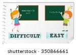 opposite adjectives difficult... | Shutterstock .eps vector #350866661