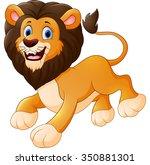 cute lion cartoon | Shutterstock .eps vector #350881301