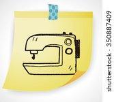 sewing machine doodle | Shutterstock .eps vector #350887409