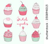 hand drawn vector set with cute ... | Shutterstock .eps vector #350894015