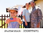 little girl holding american... | Shutterstock . vector #350899691