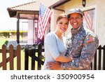 american military couple... | Shutterstock . vector #350900954