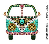 hippie vintage car a mini van... | Shutterstock .eps vector #350912837