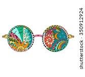 hand drawn hippie sun glasses...   Shutterstock .eps vector #350912924