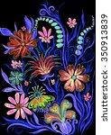 flower background on black  ...   Shutterstock . vector #350913839