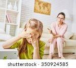 mother scolds her child girl.   Shutterstock . vector #350924585
