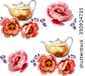 teapot with floral tea.... | Shutterstock . vector #350924735