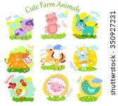 set of cute farm animals ... | Shutterstock .eps vector #350927231