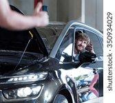 picture of happy driver in auto ... | Shutterstock . vector #350934029