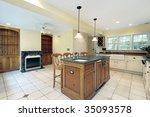luxury kitchen with fireplace | Shutterstock . vector #35093578