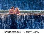 happy family on honeymoon... | Shutterstock . vector #350943347