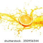 orange juice splashing with its ... | Shutterstock . vector #350956544