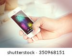 music smartphone in male hand ... | Shutterstock . vector #350968151