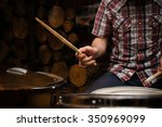 Hands Of Drummer With Sticks...