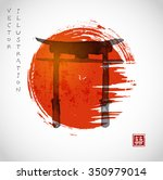 torii gates and red rising sun... | Shutterstock .eps vector #350979014
