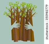 eco friendly hands hug concept... | Shutterstock .eps vector #350982779