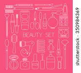 beauty set icons in pink color... | Shutterstock .eps vector #350984369