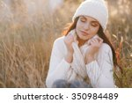 beautiful natural young smiling ... | Shutterstock . vector #350984489