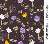 seamless pattern with flowers... | Shutterstock .eps vector #350986151