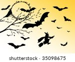 witch flying high among the... | Shutterstock . vector #35098675