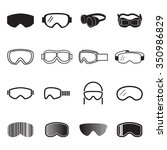goggles icons. safety glasses... | Shutterstock .eps vector #350986829