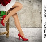 red heels woman legs and wall... | Shutterstock . vector #350990381