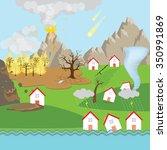 natural disaster scenario    Shutterstock .eps vector #350991869
