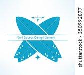 vector crossed surfing boards.... | Shutterstock .eps vector #350992877
