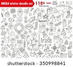 winter doodles collection.... | Shutterstock .eps vector #350998841