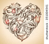 hand drawn vintage heart sketch.... | Shutterstock .eps vector #351004541